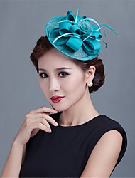 abordables -tocado de felpa de poliéster de plumas de lino estilo femenino clásico