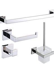 cheap -Bathroom Accessory Set Contemporary Stainless Steel 4pcs - Hotel bath Toilet Brush Holder tower bar Robe Hook Toilet Paper Holders