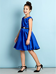 cheap -A-Line Scoop Neck Knee Length Satin Junior Bridesmaid Dress with Crystal Detailing by LAN TING BRIDE®