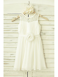 cheap -A-Line Knee Length Flower Girl Dress - Chiffon Lace Sleeveless Scoop Neck with Sash / Ribbon Flower by LAN TING BRIDE®