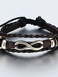 Vilam® Vintage Handmade Woven Leather Bracelet With Infinity Sign Adustable Cool Men's Bracelet Jewelry Christmas Gifts