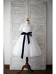 cheap -A-Line Knee Length Flower Girl Dress - Lace Tulle Short Sleeves Jewel Neck with Bow(s) Sash / Ribbon by LAN TING BRIDE®