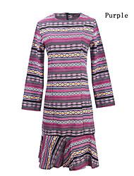 billige -Dame Arbejde Chic & Moderne Bomuld Tynd Kjole - Multi Farve, Moderne Stil