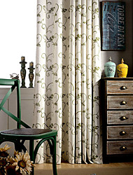 Two Panels Country  Green Vine Floral  Embroidered Linen Polyester Blend Curtains Drapes