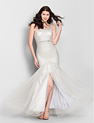 cheap -Mermaid / Trumpet V-neck Floor Length Tulle Bridesmaid Dress with Crystal Detailing Criss Cross by LAN TING BRIDE®