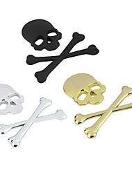 baratos -novo estilo 3d 3m ossos cruzados do crânio do esqueleto de metal emblema crânio etiqueta motocicleta carro adesivo de carro emblema decalque