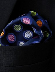Men's Pocket SquareGeometrical Navy Blue 100% Silk Business Multicolor