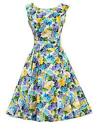 cheap -Women's Blue Floral Dress , Vintage Sleeveless 50s Rockabilly Swing Short Cocktail Dress
