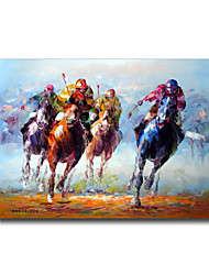 cheap -IARTS®The Derby Stallion Competition Colorful Handmade Stretched Oil Painting Free Shiping