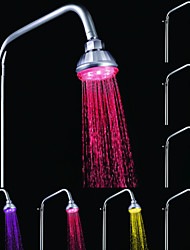 cheap -A Grade ABS Chrome  Color Changing LED Shower Head Rain Shower