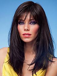 Недорогие -Человеческие волосы без парики Натуральные волосы Прямой Стиль Без шапочки-основы Парик / Прямой силуэт