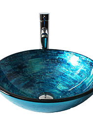 Blue Round Tempered Glass Vessel Sink with Straight Tube  Faucet ,Pop - Up Drain and Mounting Ring
