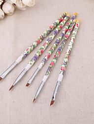 5PCS/set Nail Brushes Fashion New Nail Art Wood UV Gel Salon Pen Flat Brush Kit Dotting Nail styling Tools