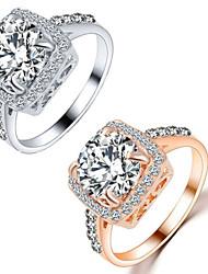 preiswerte -Herrn / Damen Kristall Krystall / Aleación Eheringe - Quadratisch / Geometrische Form Liebe / Modisch Silber / Golden Ring Für Hochzeit /