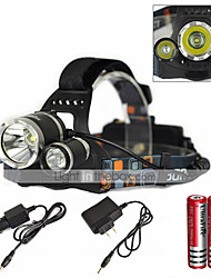 cheap -SHP-08202 Headlamps LED 6000 lm 1 Mode with Charger Zoomable / Waterproof / Rechargeable Camping / Hiking / Caving / Everyday Use / Diving / Boating Black