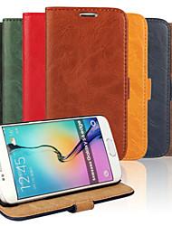 رخيصةأون -DE JI غطاء من أجل Samsung Galaxy حالة سامسونج غالاكسي حامل البطاقات / مع حامل / قلب غطاء كامل للجسم لون سادة جلد PU إلى S6 edge / S6 / S5