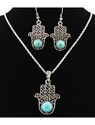 cheap -Turquoise Fatima's Hand Palm Pendant Silver Necklace & Earrings Jewelry Set