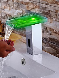 Contemporary Chrome Finish LED Waterfall Bathroom Sink Faucet  with Automatic Sensor Faucet(Cold &Hot)