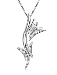 cheap -Women's Butterfly Animal Design Pendant Necklace Synthetic Diamond Silver Plated Pendant Necklace , Christmas Gifts Wedding Party Special