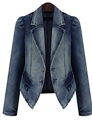 cheap -Women's Daily Work Spring/Fall Denim Jackets Long Sleeves
