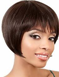 Недорогие -Современный Боб короткий прямой человек девственный Реми волос руки связали верхнюю монолитным парик для леди
