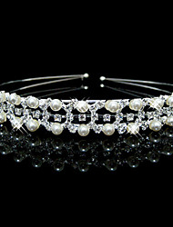 cheap -Women's Cute Party Imitation Pearl Cubic Zirconia Silver Plated Alloy Headband - Solid Colored