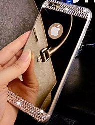 cheap -Case For Apple iPhone 8 iPhone 8 Plus iPhone 6 iPhone 6 Plus iPhone 7 Plus iPhone 7 Rhinestone Plating Mirror Back Cover Solid Color Hard