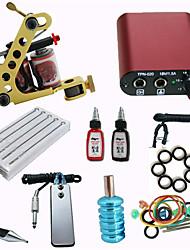 preiswerte -Anfänger Tattoo-Set mit Maschine / Mini-Netzteil / 10 Nadeln / 2 Tinte / Nadel / Tipps / Grip Pro