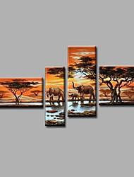 abordables -Pintura al óleo pintada a colgar Pintada a mano - Paisaje / Paisajes Abstractos Modern Lona