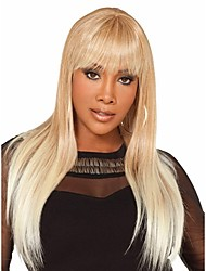 cheap -Blonde & White Syntheic Wig   Extensions  Women Lady Bang Of Bob Wig