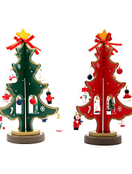 cheap -Cute Mini Christmas Tree 23cm Wooden DIY Christmas Decorations For Home Christmas Gifts Kids