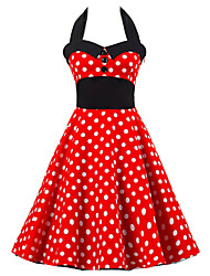 Women's Backless Going out Vintage/Cute A Line/Skater Dress,Polka Dot Halter Knee-length Sleeveless Red Cotton Summer High Rise Micro-elastic