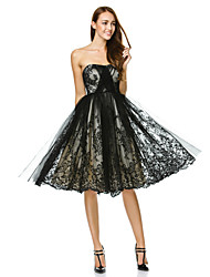 cheap -A-Line / Fit & Flare Strapless Knee Length Tulle Little Black Dress Cocktail Party / Prom Dress with Lace by TS Couture®