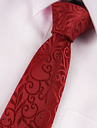 cheap -Men's Polyester Neck Tie,Vintage Party Work Casual Print All Seasons Red