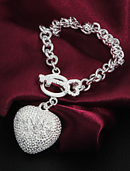 Top Classic Noble Sterling Silver Fashion CZ Stone Heart Spoon Party Casual Bracelets For Woman&Lady
