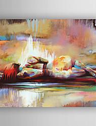 Недорогие -Масляная живопись накладная женщина ручной росписью холст с вытянутой рамкой