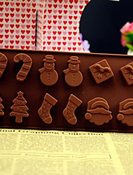 Christmas Tree Snowman Santa Gift Socks Candy Bar Silicone Chocolate Cake Mold Color Random