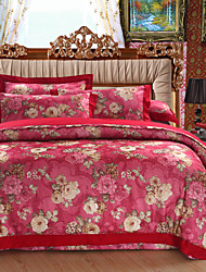Duvet Cover Sets Floral 4 Piece Cotton Reactive Print Cotton 1pc Duvet Cover 2pcs Shams 1pc Flat Sheet