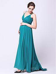 Linha A Com Alças Finas Cauda Escova Chiffon Evento Formal Vestido com Pregueado de TS Couture®