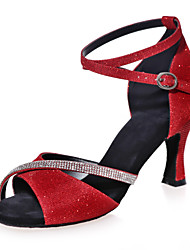 "cheap -Women's Latin Sparkling Glitter Sandal Indoor Performance Practice Sparkling Glitter Flared Heel Red Silver Brown Blue Gold 2"" - 2 3/4"""
