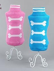 economico -Gatto Cane Maglioni Abbigliamento per cani Osso Blu Rosa Cotone Costume Per animali domestici Per uomo Per donna Casual