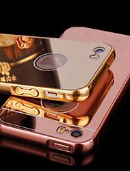 baratos -Capinha Para iPhone 5 Apple Capinha iPhone 5 Galvanizado Espelho Capa traseira Côr Sólida Rígida Acrílico para iPhone SE/5s
