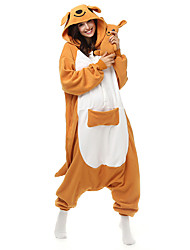 Pijama Kigurumi Canguru Pijama Macacão Pijamas Ocasiões Especiais Lã Polar Fibra Sintética Laranja Cosplay Para Adulto Pijamas Animais