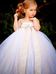 Ballkleid Knöchel Länge Blumenmädchen Kleid - Polyester Tüll ärmellos trägerlos mit Blume von ydn