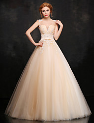 cheap -Ball Gown V-neck Floor Length Lace Satin Tulle Prom Formal Evening Dress with Beading Appliques Flower(s) Lace by Huaxirenjiao