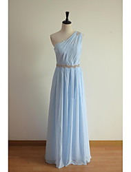 a-line un vestito chiffon dalla damigella d'onore di lunghezza del pavimento della spalla con il thstylee del bordo del bordo