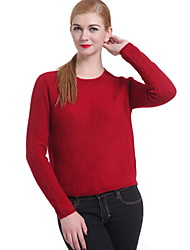 cheap -Women's Long Sleeves Pullover - Solid Crew Neck