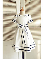 Trapèze Mi-long Robe de Demoiselle d'Honneur Fille - Coton Manches Courtes Bijoux avec Noeud(s) Ceinture / Ruban par LAN TING BRIDE®