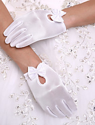 cheap -Spandex Wrist Length Glove Party/ Evening Gloves Flower Girl Gloves With Bowknot Pearl