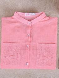 cheap -Summer Womens Casual wild Cozy Cotton Linen loose blouse Button Down Shirt 7 Colors Tops